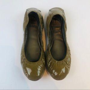 Tory Burch Eddie Olive Green Patent Ballet Flats